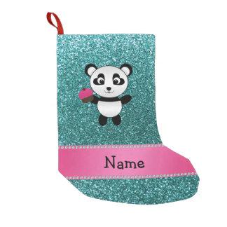 Brillo conocido personalizado de la turquesa de la calcetín de navidad pequeño