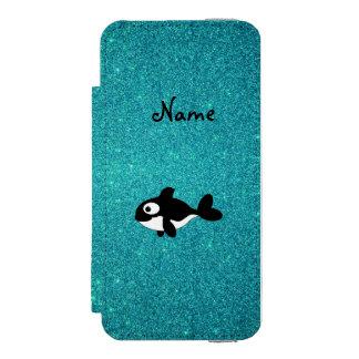 Brillo conocido personalizado de la turquesa de la funda billetera para iPhone 5 watson