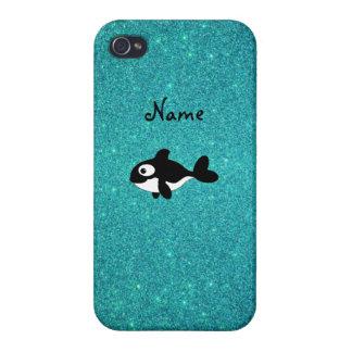 Brillo conocido personalizado de la turquesa de la iPhone 4 funda