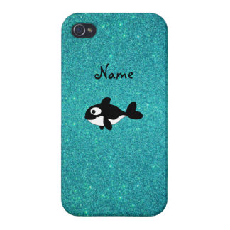 Brillo conocido personalizado de la turquesa de la iPhone 4 fundas
