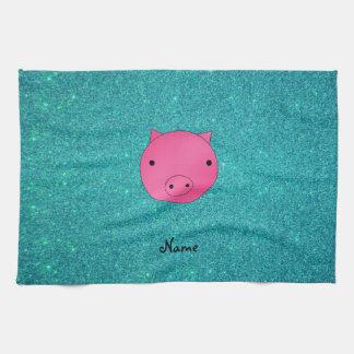 Brillo conocido personalizado de la turquesa de la toallas de cocina