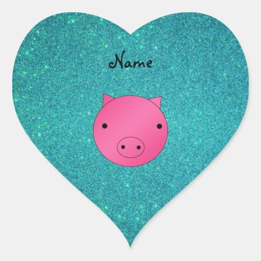 Brillo conocido personalizado de la turquesa de la pegatina en forma de corazón