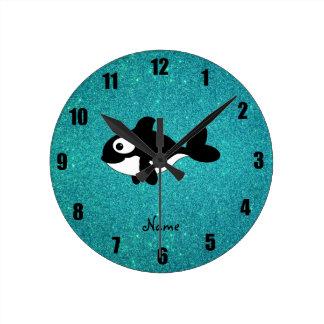 Brillo conocido personalizado de la turquesa de la reloj redondo mediano
