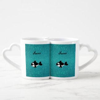 Brillo conocido personalizado de la turquesa de la taza para enamorados