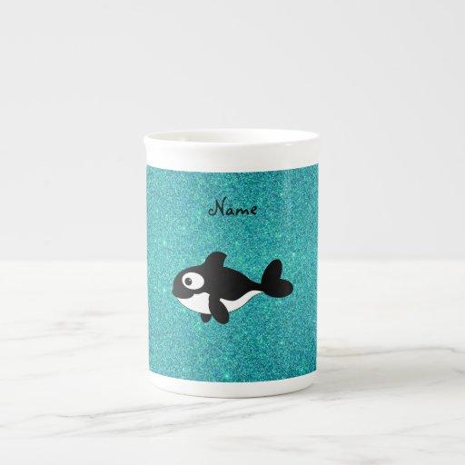 Brillo conocido personalizado de la turquesa de la taza de china