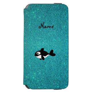 Brillo conocido personalizado de la turquesa de la funda cartera para iPhone 6 watson