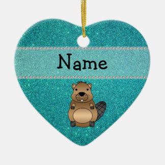 Brillo conocido personalizado de la turquesa del adorno navideño de cerámica en forma de corazón