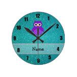 Brillo conocido personalizado de la turquesa del b relojes de pared