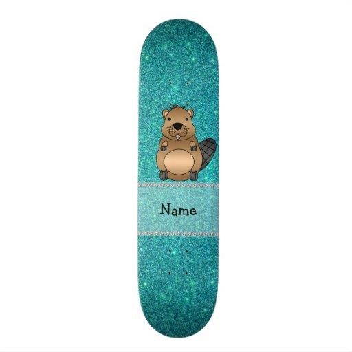 Brillo conocido personalizado de la turquesa del c tabla de skate