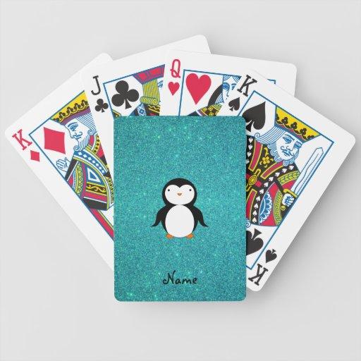 Brillo conocido personalizado de la turquesa del p baraja de cartas
