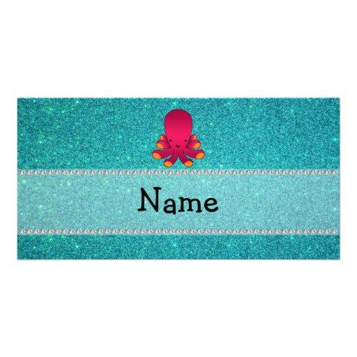 Brillo conocido personalizado de la turquesa del p tarjeta fotografica
