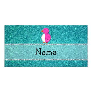 Brillo conocido personalizado de la turquesa del p tarjetas personales con fotos