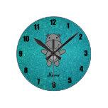 Brillo conocido personalizado de la turquesa del relojes de pared