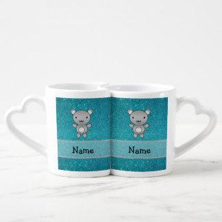 Brillo conocido personalizado de la turquesa del taza para parejas