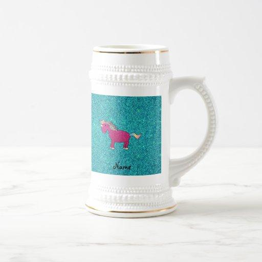 Brillo conocido personalizado de la turquesa del u tazas de café