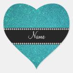 Brillo conocido personalizado de la turquesa pegatina de corazon