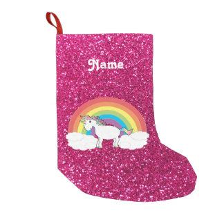 Brillo conocido personalizado de las rosas fuertes calcetín de navidad pequeño