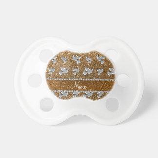 Brillo conocido personalizado del oro de la paloma chupetes para bebes