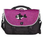 Brillo conocido personalizado del rosa de la orca bolsas de portátil