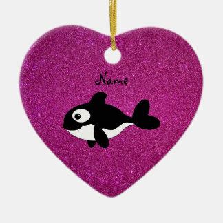 Brillo conocido personalizado del rosa de la orca adorno de cerámica en forma de corazón