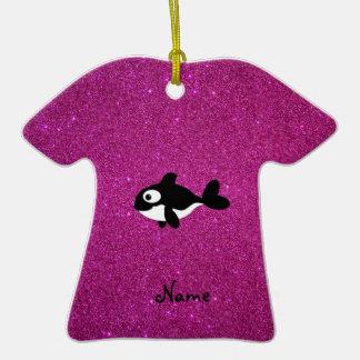 Brillo conocido personalizado del rosa de la orca adorno de cerámica en forma de playera