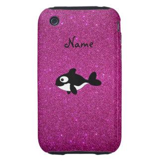 Brillo conocido personalizado del rosa de la orca iPhone 3 tough coberturas