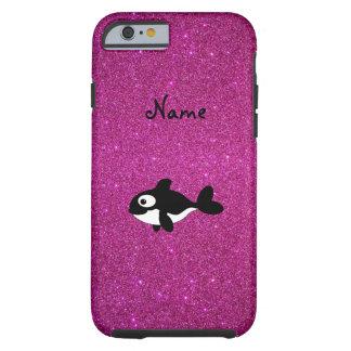 Brillo conocido personalizado del rosa de la orca funda de iPhone 6 tough