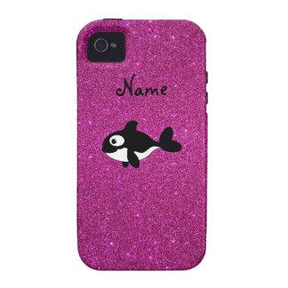 Brillo conocido personalizado del rosa de la orca iPhone 4/4S fundas