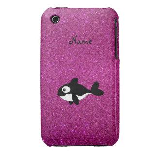 Brillo conocido personalizado del rosa de la orca iPhone 3 Case-Mate carcasa