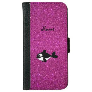 Brillo conocido personalizado del rosa de la orca funda cartera para iPhone 6