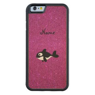 Brillo conocido personalizado del rosa de la orca funda de iPhone 6 bumper arce