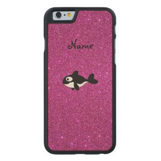 Brillo conocido personalizado del rosa de la orca funda de iPhone 6 carved® de arce