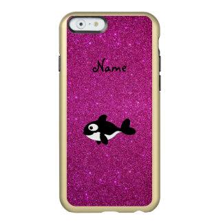 Brillo conocido personalizado del rosa de la orca funda para iPhone 6 plus incipio feather shine