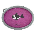 Brillo conocido personalizado del rosa de la orca hebilla cinturon oval