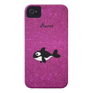 Brillo conocido personalizado del rosa de la orca iPhone 4 Case-Mate fundas