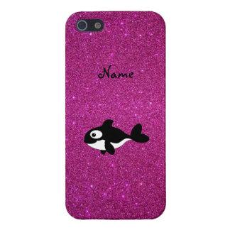 Brillo conocido personalizado del rosa de la orca iPhone 5 funda