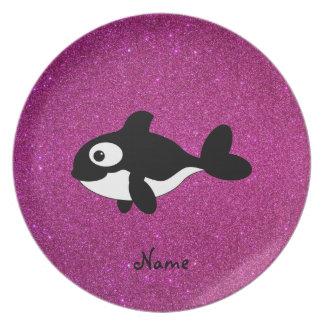 Brillo conocido personalizado del rosa de la orca plato para fiesta