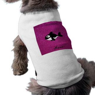 Brillo conocido personalizado del rosa de la orca playera sin mangas para perro