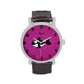 Brillo conocido personalizado del rosa de la orca relojes de pulsera