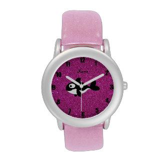 Brillo conocido personalizado del rosa de la orca relojes