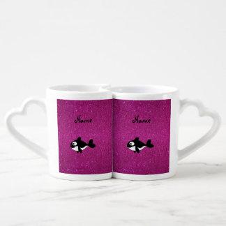 Brillo conocido personalizado del rosa de la orca tazas para parejas