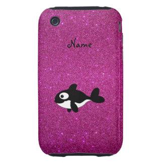 Brillo conocido personalizado del rosa de la orca tough iPhone 3 carcasa