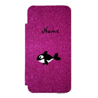 Brillo conocido personalizado del rosa de la orca funda cartera para iPhone 5 watson