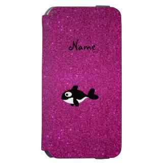 Brillo conocido personalizado del rosa de la orca funda cartera para iPhone 6 watson