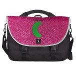 Brillo conocido personalizado del rosa de la salmu bolsas de portátil