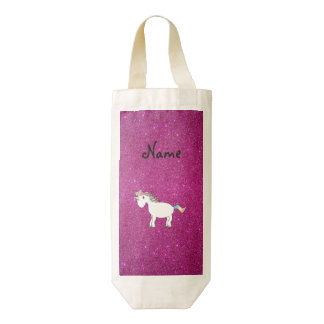 Brillo conocido personalizado del rosa del bolsa para botella de vino zazzle HEART