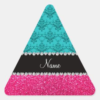 Brillo conocido personalizado del rosa del damasco calcomania de trianguladas