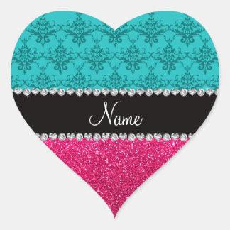 Brillo conocido personalizado del rosa del damasco calcomanías corazones