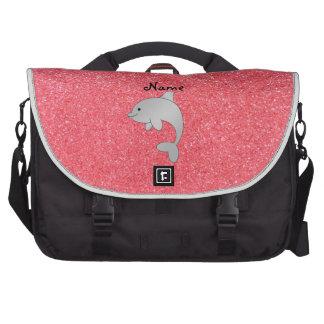 Brillo conocido personalizado del rosa del delfín bolsas de portatil
