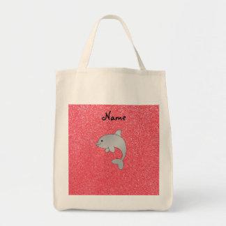 Brillo conocido personalizado del rosa del delfín bolsa tela para la compra